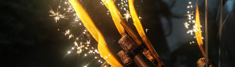 Champagne met vuurwerk